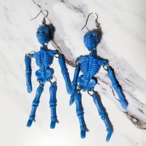 Vintage 1980's Skeleton Kitsch Toy Earrings